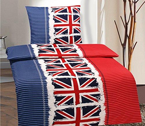 2 Teilig Bettwäsche Garnitur Set London Flagge Bettbezug 135 x 200 cm Kissenbezug 80 x 80 cm England Flagge