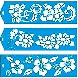 (Satz von 3) 28cm x 8cm Flexibel Kunststoff Universal Schablone - Wand Airbrush Möbel Textil Decor Dekorative Muster Design Kunst Handwerk Zeichenschablone Wandschablone - Blätter Blumen Schmetterling Sommer