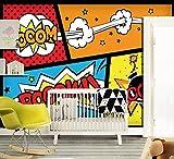 GIALLO BUS - TAPETEN STICKER - POP ART - COMICS - 180X130 CM