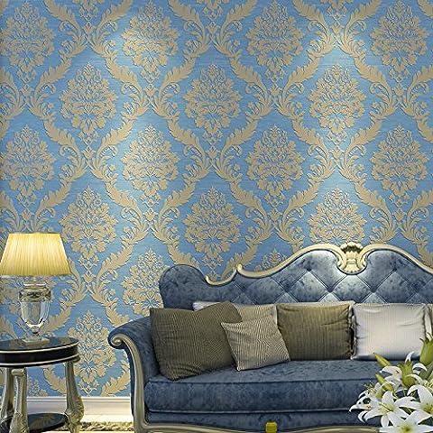 YC Lusso stile europeo 3D anaglifi Damasco ecologico non-tessuto carta da parati camera da letto soggiorno TV wallpaper , light blue