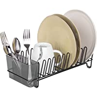 mDesign égouttoir vaisselle en inox – bac à vaisselle en plastique – étendoir pour vaisselle avec bac pour couverts…