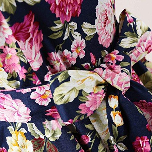 MISSMAO Vintage Robe 50's 60's Floral Style Jupe Plissée de Soirée Cocktail Femme Robe de Rockabilly Swing Marine & Floral