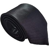 Plain Black Tie for Men Funeral Pinstripe Occasional Wedding Silk Style Necktie