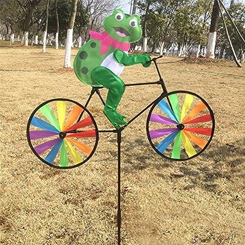 Dairyshop 3D Animal on Bike Windmill Wind Spinner Whirligig Lawn Yard Garden Home Decor (Bullfrog)