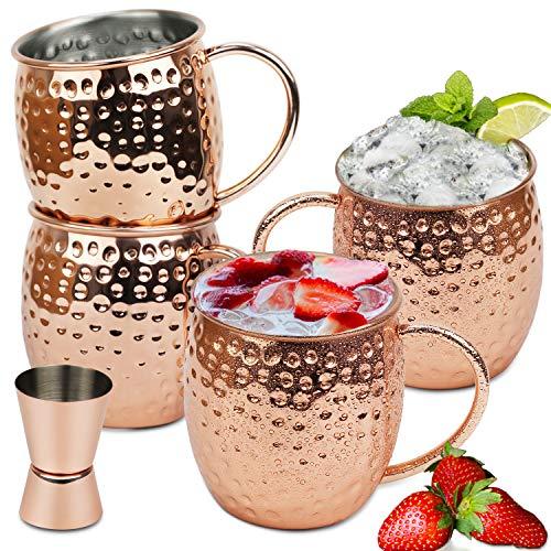 Becher (Wellead Moscow Mule Becher 4 Kupferbecher Set Gehämmert und Handgefertigt Kupfertassen Großartig für Cocktail Gekühlte Getränk 50CL Fassungsvermögen Einschließen 1 Jigger)