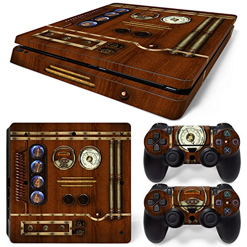 46 North Design PS4 Slim Vinyl Decal Autocollant Skin Sticker Horloge Mecanique Bois Pour Playstation 4 Slim console + 2 Dualshock Manette Set Autocollant