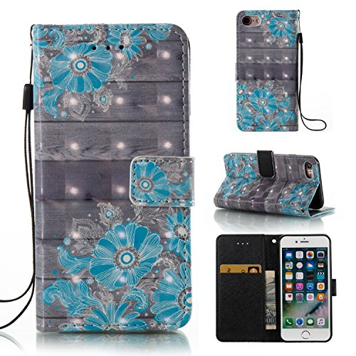Cover Apple iphone 8 / 7, Custodia Apple iphone 8 / 7, Alfort Custodia Protettiva Premium 3D PU di Alta qualità Flip Case Custodia per Apple iphone 8 / 7 4.7 Smartphone Custodia di Cuoio Flip Stand C Fiore