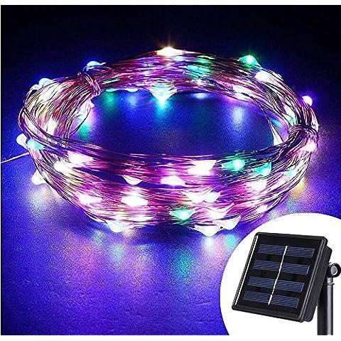 Emwel Solar Powered LED cadena luces de 10M / 33FT 100 LEDs al aire libre Solar accionado llevó cadena luces luces de alambre de cobre resistente al agua para Garden Party (Multicolor)