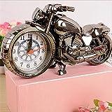 OFT Vintage Motorrad Alarm Clock Wecker Motorcycle Tischuhr Quartzuhr Standuhr (Oddiyana Monochrom)