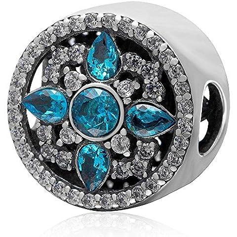 Shimmering blu cz dicembre Birthstone Charm in argento Sterling 925, compatibile con braccialetti Pandora, gioielli