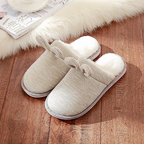 DogHaccd pantofole,Il bel paio di pantofole di cotone femmina indoor inverno soggiorno caldo spesso uomini home scarpe eleganti Grigio1
