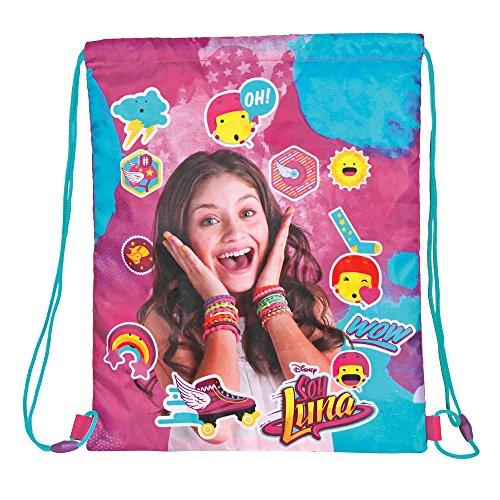 PERLETTI Soy Luna Schuhtaschen für Mädchen - Disney Turnbeutel Undurchlässig - Sportsack ideal für Sport und Reisen - Pink - 39x31 cm