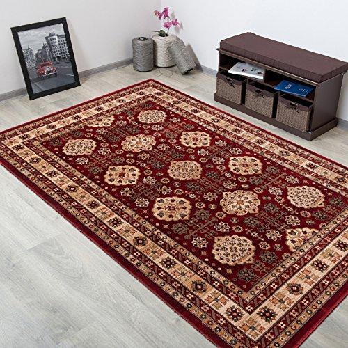 WOLLTEPPICH bester Qualität - Teppich aus Wolle ins Wohnizimmer mit Bordüre - Muster Ornamente Terrakotta Beige - THEATRE COLLECTION 200 x 300 cm Home-theatre-teppich