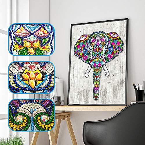 Malerei Kit Full Drill Tier Elefant Stickerei Diamond Painting Set für Erwachsene Kinder Malen nach Zahlen Kristall Strass Kreuzstich Kunst Dekoration Zuhause Mauer ()
