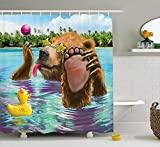 tgyew Animal Decor Shower Curtain, Happy Fancy Wild Bear in The Sea by The Beach with Its Sunglass Candies Print, Fabric Bathroom Decor Set with Hooks, 60W X 72L Inche, Multicolor