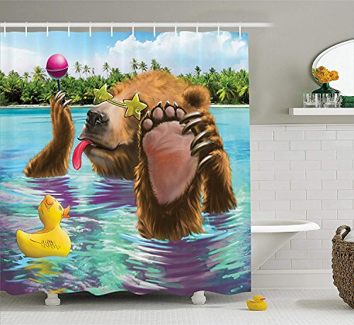 Jolly2T Animal Decor Shower Curtain, Happy Fancy Wild Bear in The Sea by The Beach with its Sunglass Candies Print, Fabric Bathroom Decor Set with Hooks, 60x72 Inches, Multicolor