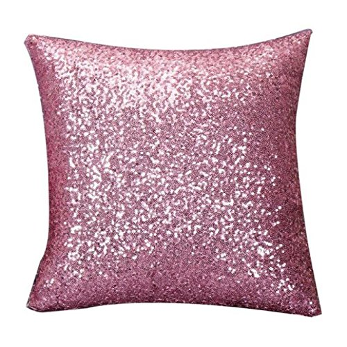 Indexp Glitter Sequins Solid Color Pillowcase Home Decor Sofa Cushion Cover (Pink/45x45cm)