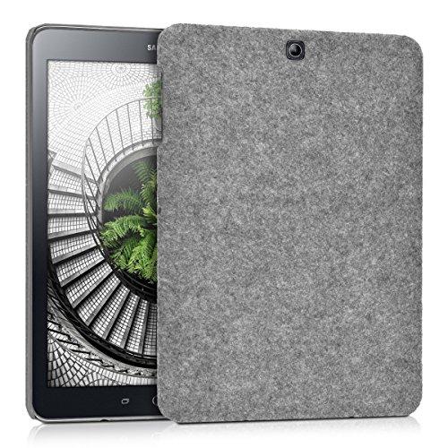 kwmobile Hardcase Stoff Hülle für Samsung Galaxy Tab S2 9.7 - Cover Case in Filz Design Hellgrau