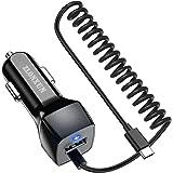 ZLONXUN Caricabatteria Caricatore Auto con Cavo di Tipo C per Samsung Galaxy S10/S20/S21/S9/S8/A71/A52/A72/A50/A52,Huawei P30