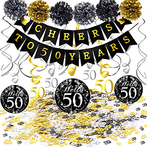 Dekoration Set, Cheers Zum 50. Geburtstag Banner und Folie Spirale Girlande, Happy Birthday & Zahl 50 Konfetti, Pom Poms für Männer und Frauen 50. Geburtstag deko schwarz Gold ()