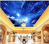 LWCX Personalizzata Carta da parati foto 3D stereoscopico notte di luna sky TV a soffitto sfondo sfondo murale Decorazione murale 180x120CM