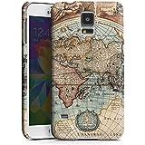 Samsung Galaxy S5 Hülle Premium Case Schutz Cover Vintage Weltkarte Karte Map
