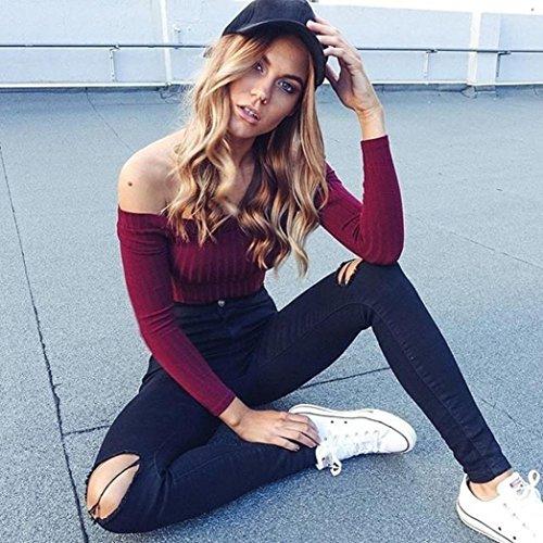 Transer ® Chemisier Femme,Femmes Sexy Encolure courte Top Pull Knitting Casual Slim bretelles T-shirt Noir/Gris/Rouge/Blanc(S-XL) Rouge
