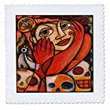 3drose QS _ 21205_ 1Mexicana Colorful Skulls Frau