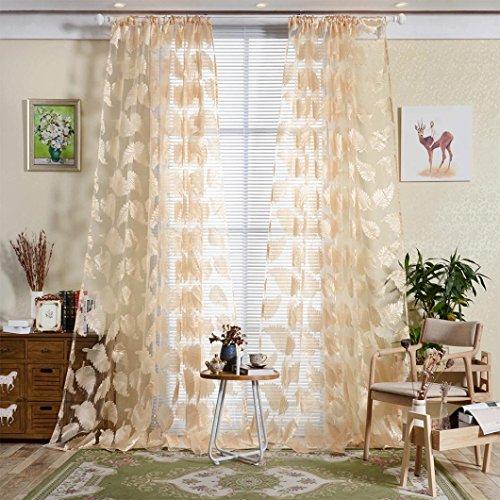 Xshuai Glatte weiche Feather Sheer Vorhang Tulle Fenster Behandlung Voile Drape Valance 1 Panel Stoff (200cm x 100cm Grau Kaffee Gelb Rosa) (Gelb) (Und Grau Gelb-vorhang-panels)