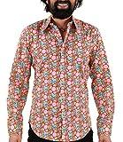 Chenaski 70er Jahre Flower Power Hemd hellblau XL
