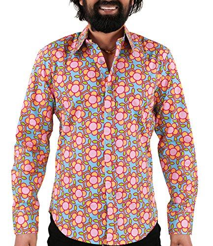 Chenaski 70er Jahre Flower Power Hemd hellblau L