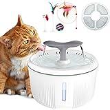 PewinGo Fontaine pour Chat Chien, 2L Silencieuse Fontaine à Eau pour Chats avec LED Fenêtre de Niveau d'eau et Filtre à…