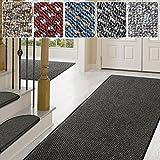 Teppich / Läufer in zahlreichen Größen | anthrazit, gepunktet | Qualitätsprodukt aus Deutschland | Teppichläufer mit GUT Siegel | Küchenläufer, Flurläufer (66x100 cm)