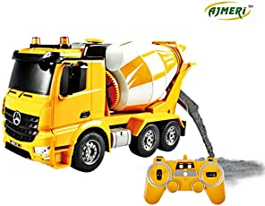 Ajmeri RC Cement Mixer Truck 4 Wheel Drive 8 Channel Remote Control RC Heavy Construction Electronics Hobby Toys Simulation Lights Sounds (Cement Mixer)