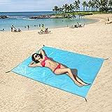 Tappetino portatile di campeggio della tasca del tappetino da spiaggia di picnic impermeabile, puntura e resistenza alla sabbia, 180x150cm grande con sacchetto portatile Adatto per la spiaggia, il campeggio, l'escursionismo, le attività di picnic e all'aperto, 70.8''x59 '' (azzurro)