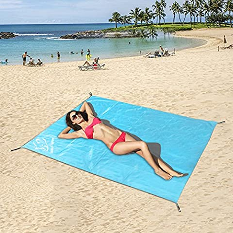 Portable Pocket Camping Blanket Picnic Beach Mat Waterproof,Puncture and Sand Resistant,180x150cm Large with Carry Bag Suitable for Beach, Camping, Hiking, Picnics & Outdoors Activities,70.8''x59''(Blue)