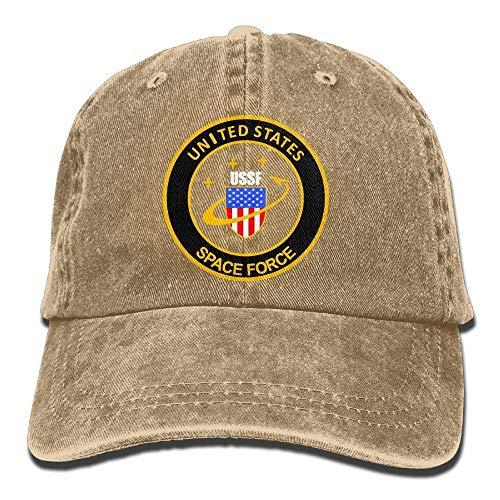deyhfef USA Space Force USSF Erwachsenen Dad Hut Baseball Mütze Vintage Washed Distressed Cap ()