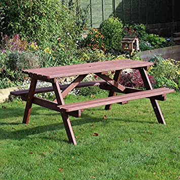 chester aframe 6 seater wooden picnic table bench 5ft 150cm 6 seater wood - Wood Picnic Table