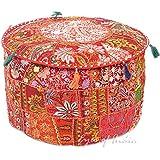 Eyes of India - 55.9x30.5cm Rojo Patchwork Redondo Otomano Puf tapa Suelo asiento bohemio boho indio - rojo #32, 12 X 22 in. (30 X 56 cm)