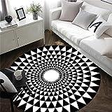 JTDD Europäischer schwarzer und weißer runder Teppichwohnzimmerschlafzimmernachtkarikatur-Computerstuhl (Farbe : SCHWARZ, größe : Diameter 100cm)