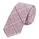 DonDon Herren Krawatte 6 cm gestreift Baumwolle rot-weiß