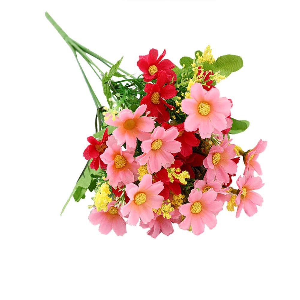 HotYou 3 Bouquet 28 Cabezas Artificiales Falsas Flor de Margarita Linda Decoración de Jardín de Bodas en el Hogar…