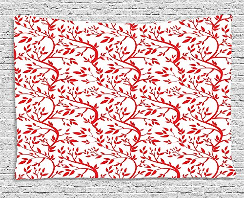 VTXWL Red Tapestry, Curvy Branches of a Spring Forest Tree Full of Leaves Victorian Garden Inspirations, Wall Hanging for Bedroom Living Room Dorm, 80 W X 60 L Inches, Red White -