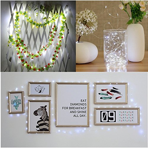 SOLMORE LED Lichterkette Weiß 5m Außen/Innen Stern Beleuchtung String Silber Licht Ketten Batteriebetrieben(Wasserdicht,Multi Funktion,Leicht Verformbar,Niedriger Verbrauch)Geeignet für Weihnachten Party Home Hause Hochzeit (Multi-string-licht)