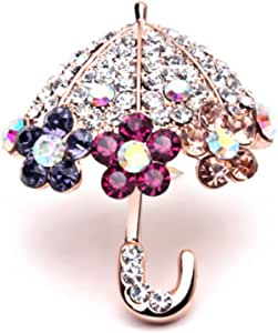 Mrs IXIQI Fashion Spilla da donna a forma di ombrello, con simil-diamanti colorati