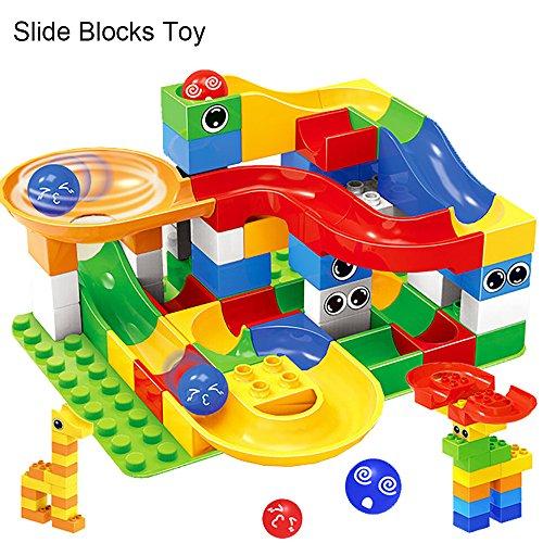 (54 Stück Rutschen Bausteine Kunststoff Mehrfarben Ball Track Rennlauf Achterbahn Montieren Groß Puzzle Ziegel DIY Spielzeug Bauklötze für Kinder 3 Jahre Alt Oben)