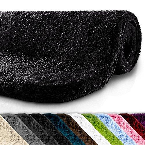 Badematte | kuscheliger Hochflor | rutschfester Badvorleger | viele Größen | zum Set kombinierbar | Öko-Tex 100 zertifiziert | 80x150 cm | Deep Black (schwarz)