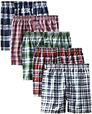 Hanes Men's Tartan Boxers pack of 5 5-pack Tartan Boxer With Inside Exposed Wais