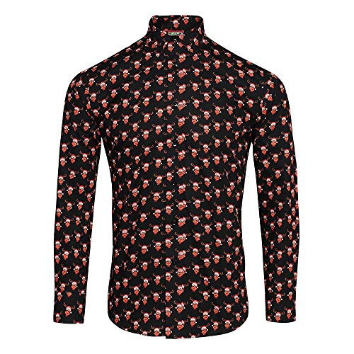 Christmas Shop Herren Hemd mit weihnachtlichem Aufdruck (S) (Rentier schwarz)