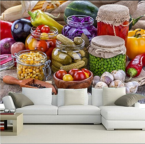 WH-PORP tapete The Custom 3D Wllpaper,All Kinds Of Canned Vegetables, Cafe Wall Restaurant Kitchen-400cmX280cm